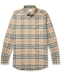 Burberry - Checked Cotton-poplin Shirt - Lyst