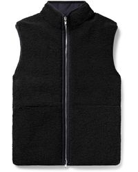 Theory Reversible Wool-blend Fleece And Shell Down Gilet - Black