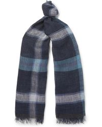 Oliver Spencer - Forte Checked Linen Scarf - Lyst
