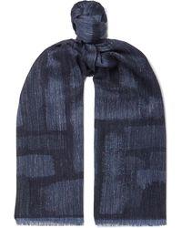 Johnstons Mélange Wool, Silk And Linen-blend Scarf - Blue
