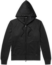 Tom Ford Tech-jersey Zip-up Hoodie - Black