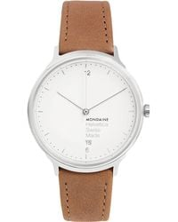 Mondaine - Helvetica No1 Light Stainless Steel And Leather Watch - Lyst
