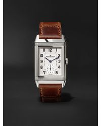Jaeger-lecoultre Reverso Classic Large Duoface Hand-wound 28mm Stainless Steel And Leather Watch - Multicolour