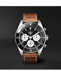 Tag Heuer - Autavia Automatic Chronograph 42mm Polished-steel And Leather Watch - Lyst