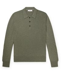 MR P. Slim-fit Cashmere And Cotton-blend Polo Shirt - Green