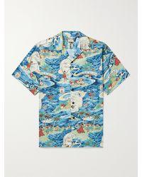 Go Barefoot Land Of Aloha Camp-collar Printed Cotton Shirt - Blue
