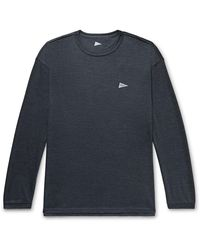 Pilgrim Surf + Supply Davis Mélange Merino Wool-jersey T-shirt - Blue