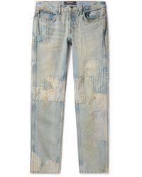 Reese Cooper Distressed Patchwork Denim Jeans - Blue