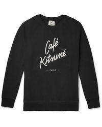 Café Kitsuné Slim-fit Logo-print Loopback Cotton-jersey Sweatshirt - Black