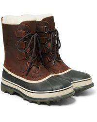 Sorel - Caribou Faux Shearling-trimmed Waterproof Leather And Rubber Snow Boots - Lyst