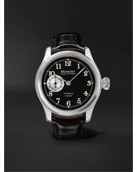 Bremont Wright Flyer Limited Edition Automatic 43mm Stainless Steel And Leather Watch, Ref. No. Wf-ss - Black