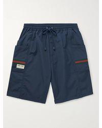 Gucci Striped Webbing-trimmed Shell Drawstring Shorts - Blue