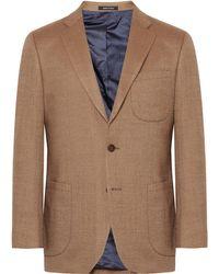 Noah   Tan Slim-fit Birdseye Wool Blazer   Lyst