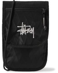Stussy Logo-embroidered Nylon-ripstop Pouch - Black