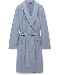 Hanro Striped Mercerised Cotton-chambray Robe - Blue