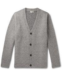 Acne Studios Ribbed Mélange Wool-blend Cardigan - Grey