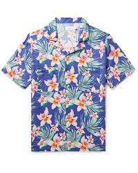Onia Vacation Camp-collar Floral-print Linen Shirt - Blue