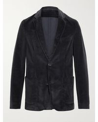 Officine Generale Slim-fit Unstructured Cotton-blend Corduroy Blazer - Blue