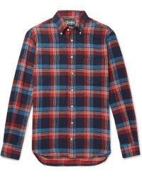 Gitman Brothers Vintage - Button-down Collar Checked Cotton-twill Shirt Xs - Lyst