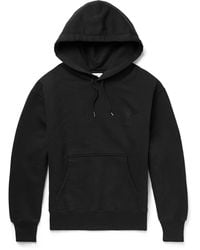 AMI - Logo-embroidered Organic Cotton-jersey Hoodie - Lyst