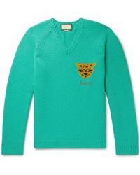 2a6ba73f Lyst - Gucci Intarsia Striped Wool Sweater in Black for Men
