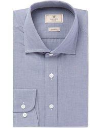 Hackett - Navy Cutaway-collar Puppytooth Cotton Shirt - Lyst