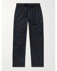 Desmond & Dempsey Printed Cotton Pyjama Trousers - Black