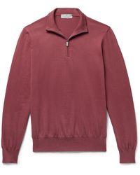 Canali Cotton Half-zip Sweater - Red