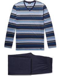 Hanro Jolan Mercerised Striped Cotton-jersey Pyjama Set - Blue