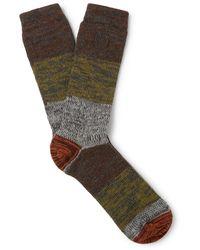 Loewe Eye//nature Logo-embroidered Striped Mélange Stretch-knit Socks - Grey