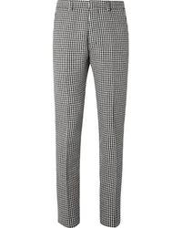 AMI Slim-fit Houndstooth Virgin Wool-blend Pants - Black