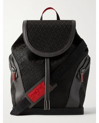 Christian Louboutin Explorafunk Leather-trimmed Logo-jacquard Coated-canvas Backpack - Black
