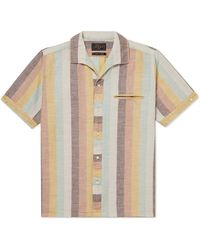 Beams Plus Striped Camp-collar Cotton-voile Shirt - Brown