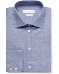 Richard James - Blue Puppytooth Cotton Shirt - Lyst