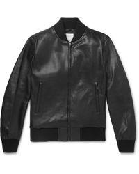 Sandro Leather Bomber Jacket - Black