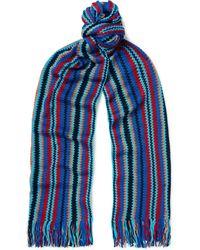 Missoni Fringed Striped Crochet-knit Cotton Scarf - Blue