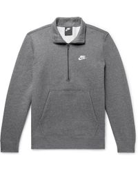 4e0f60388 Nike - Sportswear Mélange Fleece-back Cotton-blend Half-zip Sweatshirt -  Lyst