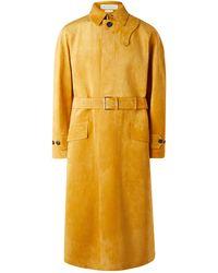 Alexander McQueen Suede Trench Coat - Yellow