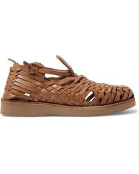 Yuketen Cruz Woven Leather Huarache Sandals - Brown