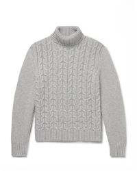 Canali Cable-knit Cashmere Rollneck Sweater - Gray