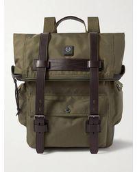 Belstaff Bruce Logo-appliquéd Leather-trimmed Canvas Backpack - Green