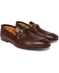Gucci Brixton Webbing-trimmed Horsebit Collapsible-heel Leather Loafers - Brown