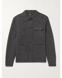 Incotex Mélange Wool-piqué Overshirt - Grey