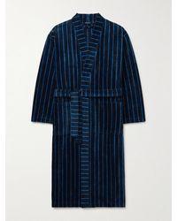 Schiesser Velours Striped Cotton-terry Robe - Blue