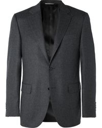 Canali Gray Wool-flannel Suit Jacket