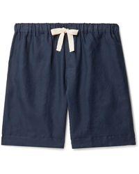 Desmond & Dempsey Linen Pyjama Shorts - Blue