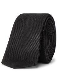 Saint Laurent 4cm Metallic Silk-blend Jacquard Tie - Black