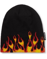 Palm Angels Burning Knitted Detail Beanie - Black