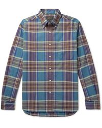 Beams Plus Checked Cotton-flannel Shirt - Blue