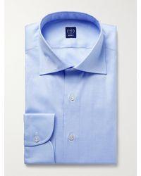 Beams F Cutaway-collar Striped Cotton Oxford Shirt - Blue